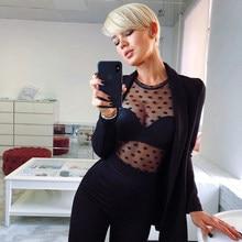 c83a910ab6 Womens Long Sleeve Party Tops and blouses elegant Mesh Transparent Polka  Dot Shirt Sheer bodycon Bandage