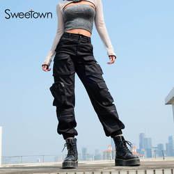 Sweetown черный женские брюки-карго Мода 2019 карманы Лоскутная Hippie Брюки Поддельные молнии тканые Высокая Талия повседневные штаны