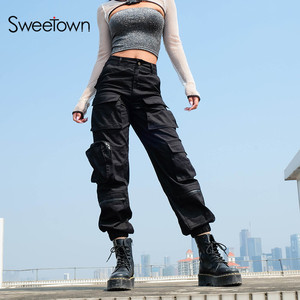Image 1 - Sweetown מטען שחור מכנסיים נשים אופנה 2020 כיסי טלאי היפי מכנסיים מזויף רוכסן ארוג גבוהה מותניים מכנסיים Streetwear