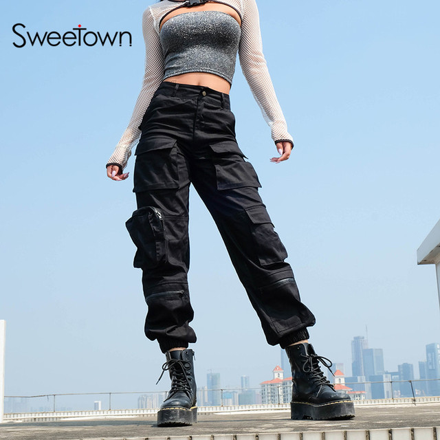 Sweetown מטען שחור מכנסיים נשים אופנה 2020 כיסי טלאי היפי מכנסיים מזויף רוכסן ארוג גבוהה מותניים מכנסיים Streetwear