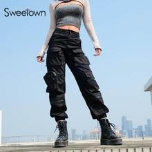 Sweetown Black Cargo Pants Women 2019 Pockets Patchwork Hippie Zipper High Waist