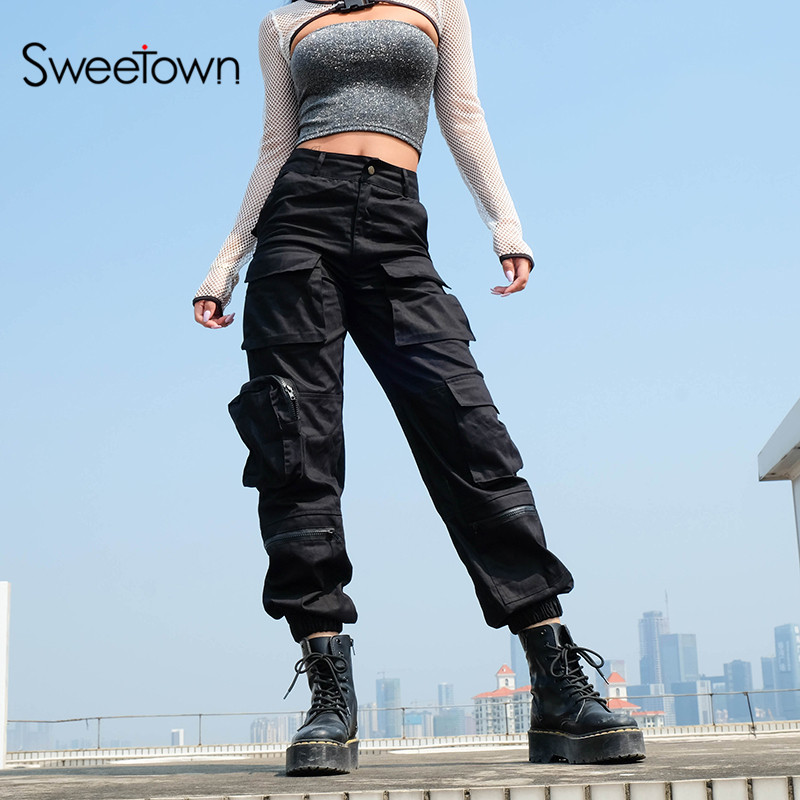 Sweetown Schwarz Cargo Hosen Frauen Mode 2019 Taschen Patchwork Hippie Hose Gefälschte Zipper Woven Hohe Taille Streetwear Hosen