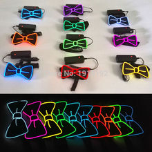 2017 NEW Design Fashion Glowing Flashing 10 colors EL Wire DJ's,bow Tie for party ,bar,club, DJ by 3V Steady on Or Sound Active