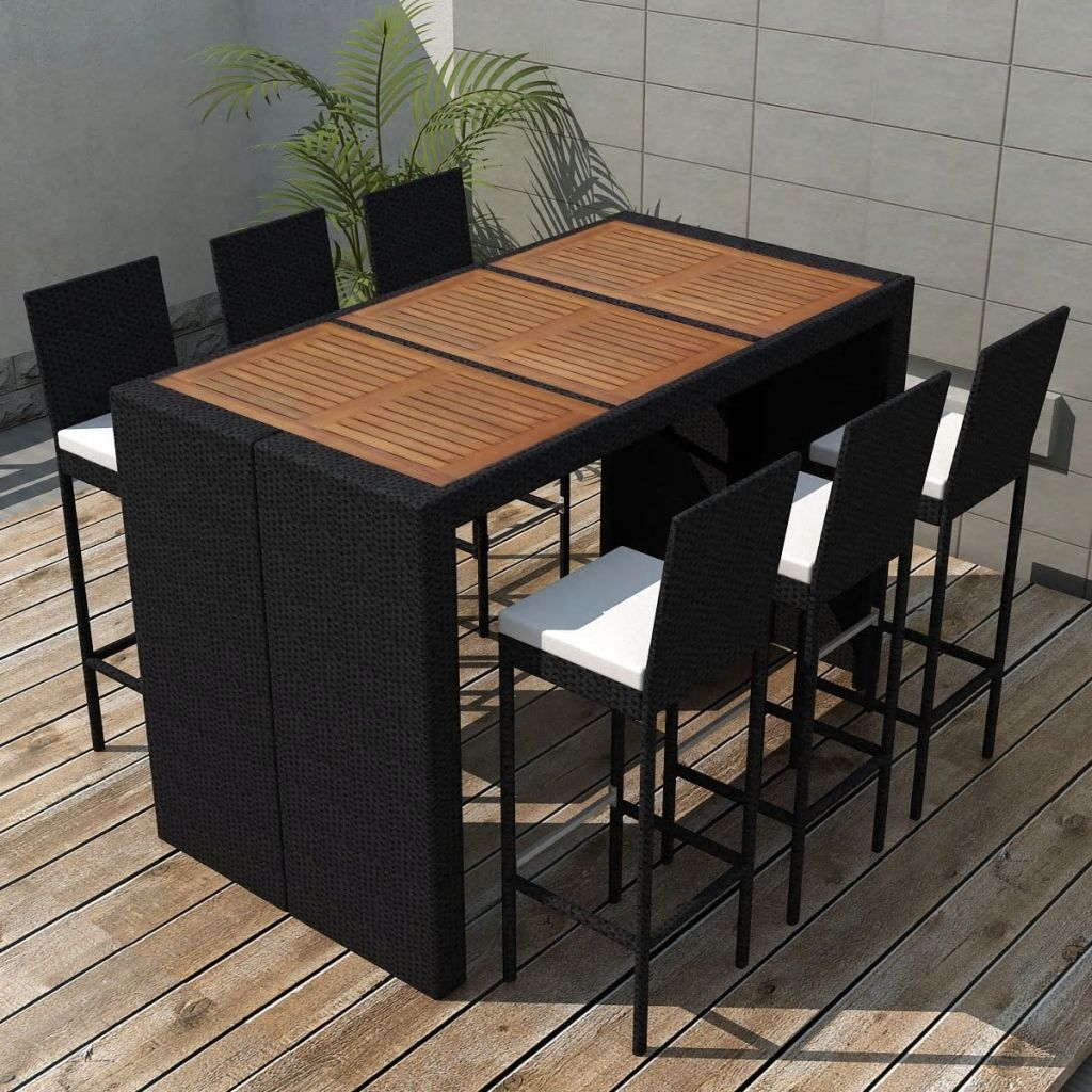 Vidaxl 13 piece garden bar set poly rattan acacia wood tabletop
