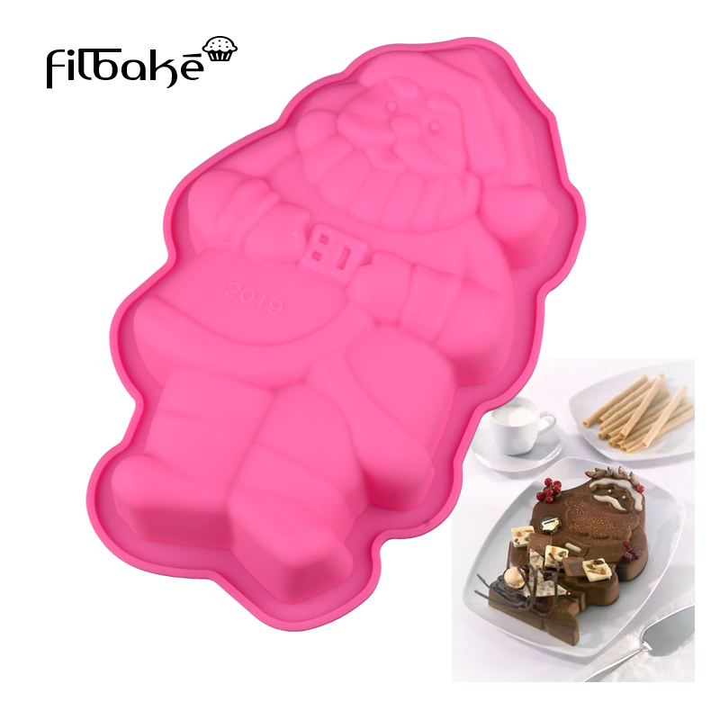 FILBAKE 3D DIY Silikonowe Santa Claus Shaped Cake Soap Mold Cake Pan DIY Narzędzia do pieczenia Christmas Supplies Akcesoria do pieczenia