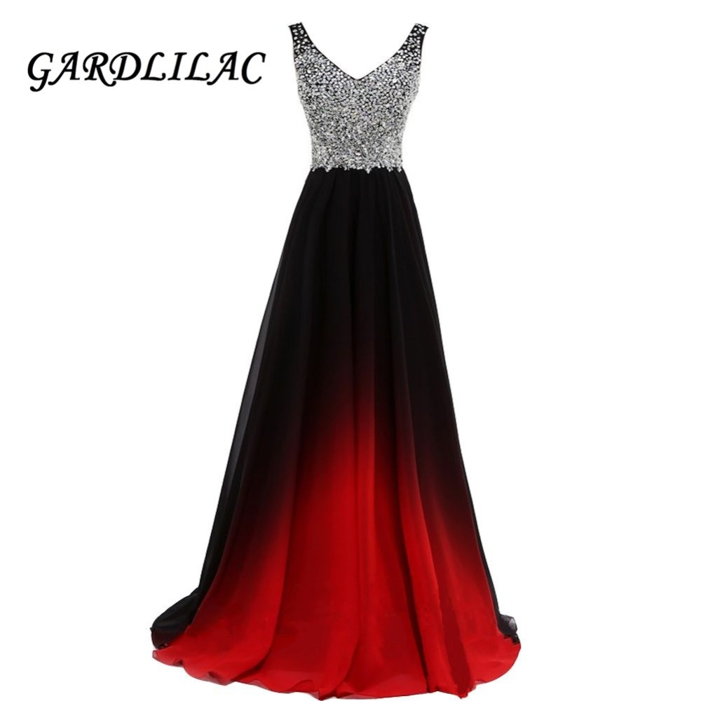 V-Neck Ombre Evening Dresses Vestido Longo Beaded Prom Dress 2019 Gradient Chiffon Prom Long Elegant Dress For Plus Size Woman