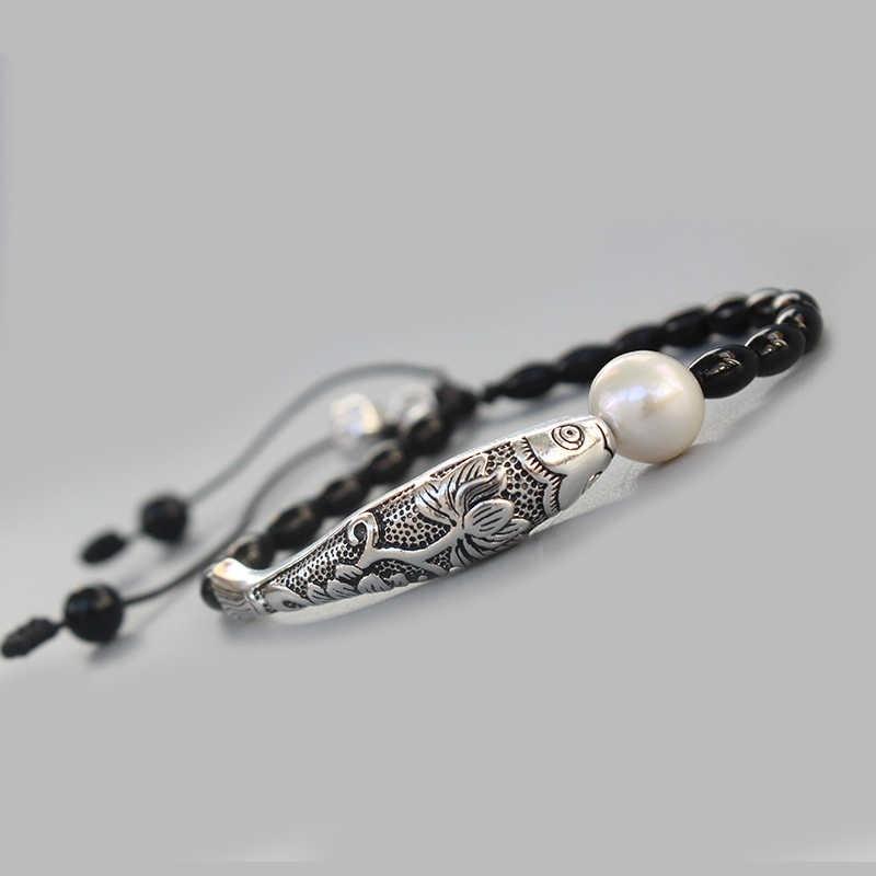 Оптовая продажа черный камень натуральный жемчуг с серебряной Удачи Шарм для браслета Рыба для женщин Йога Медитации наручные украшения ручной
