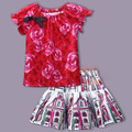 Fashion Girls Clothing Set Rose Floral T-shirts Cute Bow + Graffiti Skirt Kids Clothes Children Suits 3-8T