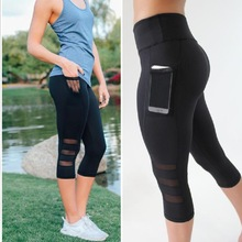Mesh Women Yoga Pants High Waist 3/4 Length Black Sports Leggings Women Fitness Clothes Running Tights Clothing Side Pocket