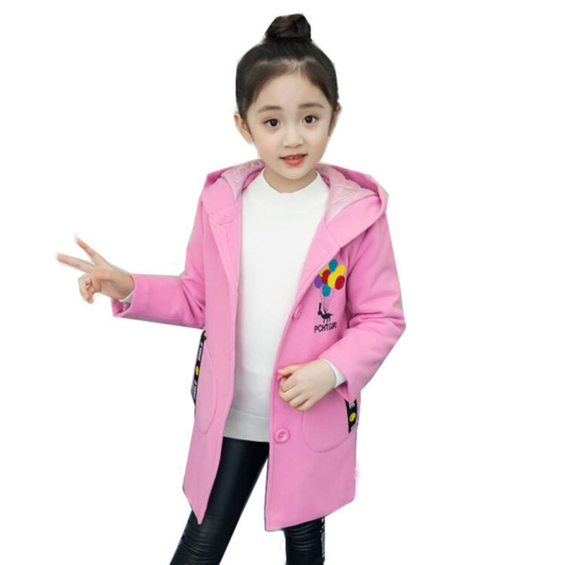 Children's Winter Jacket Girls Wool Coat Wool & Blends 2018 Fashion Hooded Letter Balloon Embroidered Coat For Girl Size 6-11T plus size wool blend lapel coat