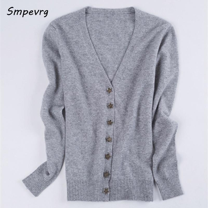 smpevrg स्प्रिंग नई छोटे स्टार बकसुआ कश्मीरी कार्डिगन महिलाओं सेक्सी वि गर्दन स्वेटर पतली ठोस पूर्ण आस्तीन आकस्मिक बुना हुआ
