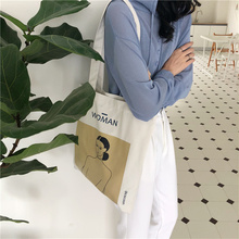 Womens Canvas Shoulder Bag Painting Printing Ladies Shopping Feminina Simple Ecological Cotton Cloth Handbag 2019