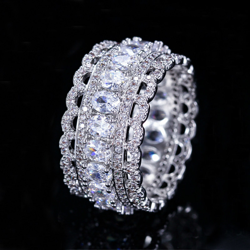 Deluxe Unique Lace Edge Design Lady Ring Ellipse AAA Cubic Zirconia CZ Female Engagement Ring Bride Exquisite Jewelry Gifts