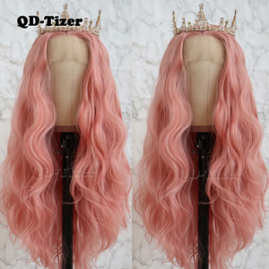 Image 4 - QD Tizer Long Pink Hair Loose Wave Hair  Lace Wigs Free Part Glueless Synthetic Lace Front Wigs for Fashion Women