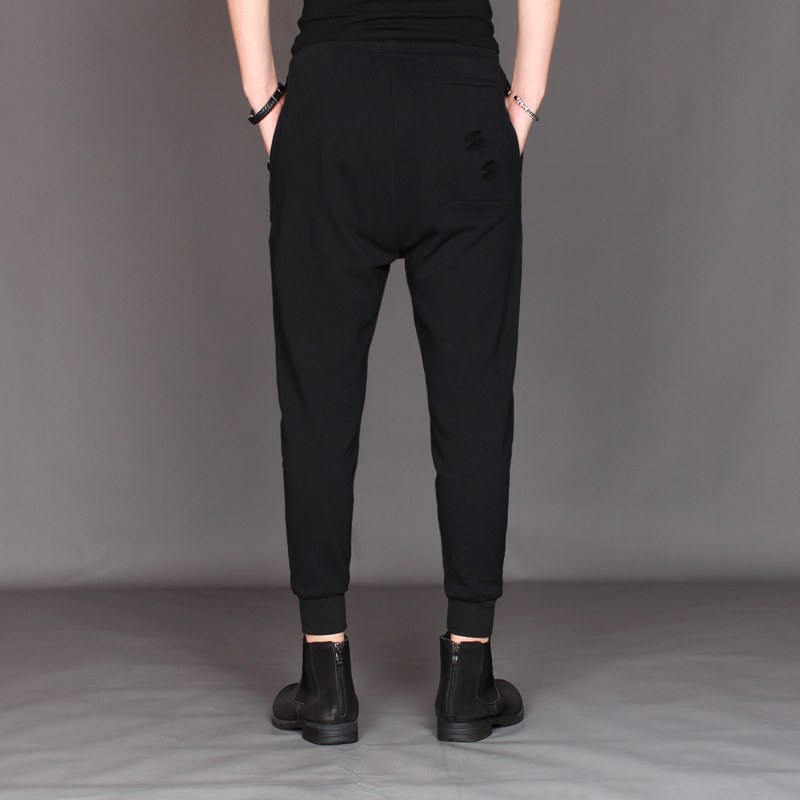 Haren M Slim Original Gd Moda ~ Hombre 2019 Pantalones De 3xl Agujero Casual Decoración Negro Estilista Nuevo xXqYZxnv