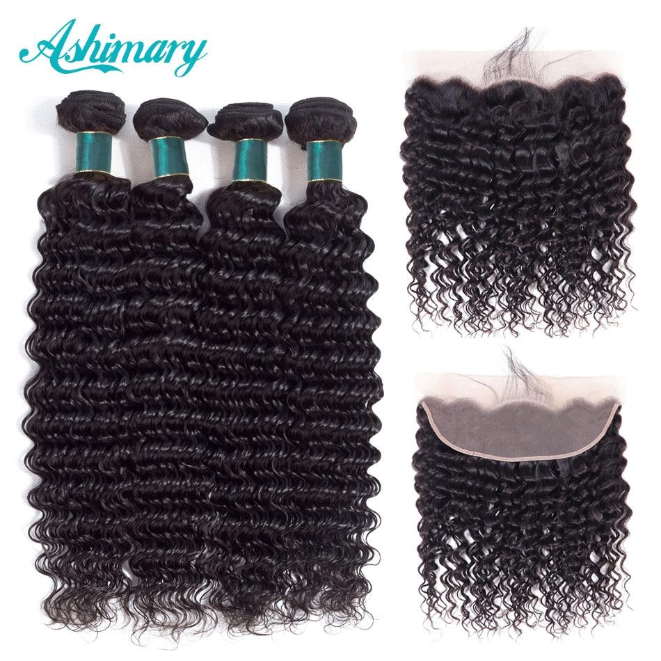 Ashimary Deep Wave Brazilian Hair Bundles with Frontal Remy Hair 2/3/4 Bundles with Frontal Human Hair Bundles with Lace Frontal(China)