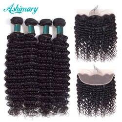 Ashimary глубокая волна бразильский пучки волос с фронтальной Волосы remy 2/3/4 пачки с фронтальной натуральные волосы Связки с кружевом