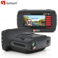Junsun Car DVR Camera Radar Detector GPS 3 In 1 For Russian Ambarella A7 Anti Radar
