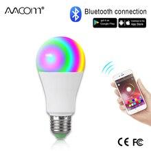 Ampoule LED connectée sans fil E27, Bluetooth, Ampoule RGBW 265, 15W, 85 lumière LED V, commande musicale, 20 Modes, applicables à IOS /Android