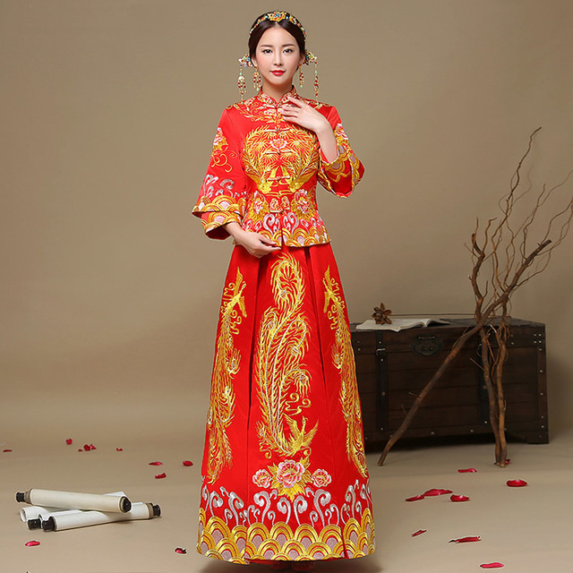 Rot Braut Goldfaden Stickerei Drachen Phoenix Tailing Hochzeit Qipao ...