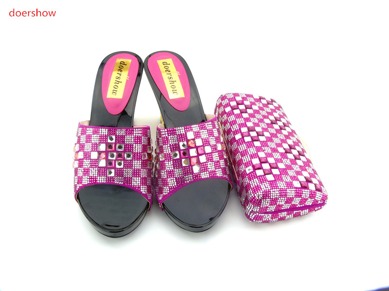 doershow Nice Design Italian Shoes With Matching Bags Latest Rhinestone African Women Shoes and Bags Set For Sale HH1-3 new arrival design italian shoes with matching bags set nice quality african shoes and bag sets with rhinestones hlu1 17
