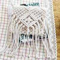 LJL бахромой Crossbody сумка тканые ручной работы Boho пляжная дорожная для женщин