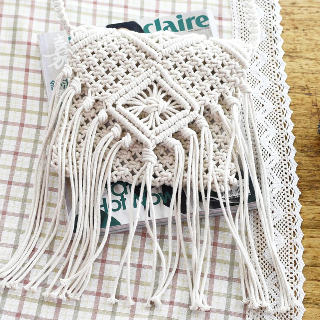 LJL Fringe Tassel Crossbody Shoulder Bag Woven Handmade Boho Beach Travel Handbag For Women