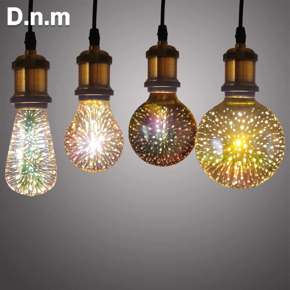 Ha condotto la Lampada 3D Decorazione Lampadina 110 v 220 v ST64 G95 G80 A60 E27 di Festa HA CONDOTTO Le Luci di Lampadina Della Novità Di Natale lampada Lampada Lamparas