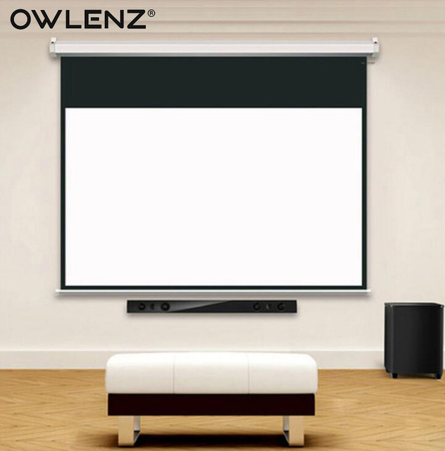 Owlenz Hd 100 Inch 16 9 Electric Projection Screen W Remote Control Motorized Wall