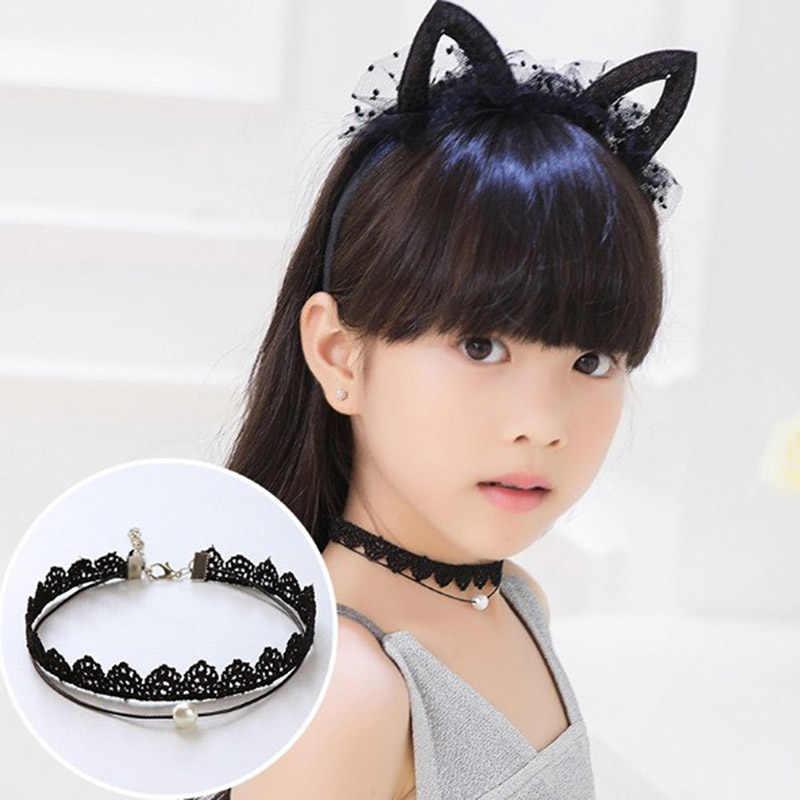 แฟชั่นสวยหญิงสีดำ Multi Layer Lace สร้อยคอเด็กประณีต Gothic Choker เครื่องประดับสร้อยคอเด็ก
