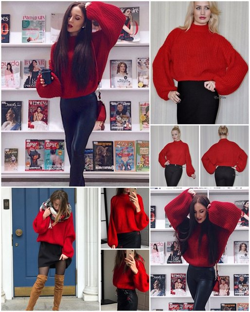 Simplee Winter lantern sleeve knitted sweater pullover Women loose round neck red sweater Female autumn casual sweater jumper 15
