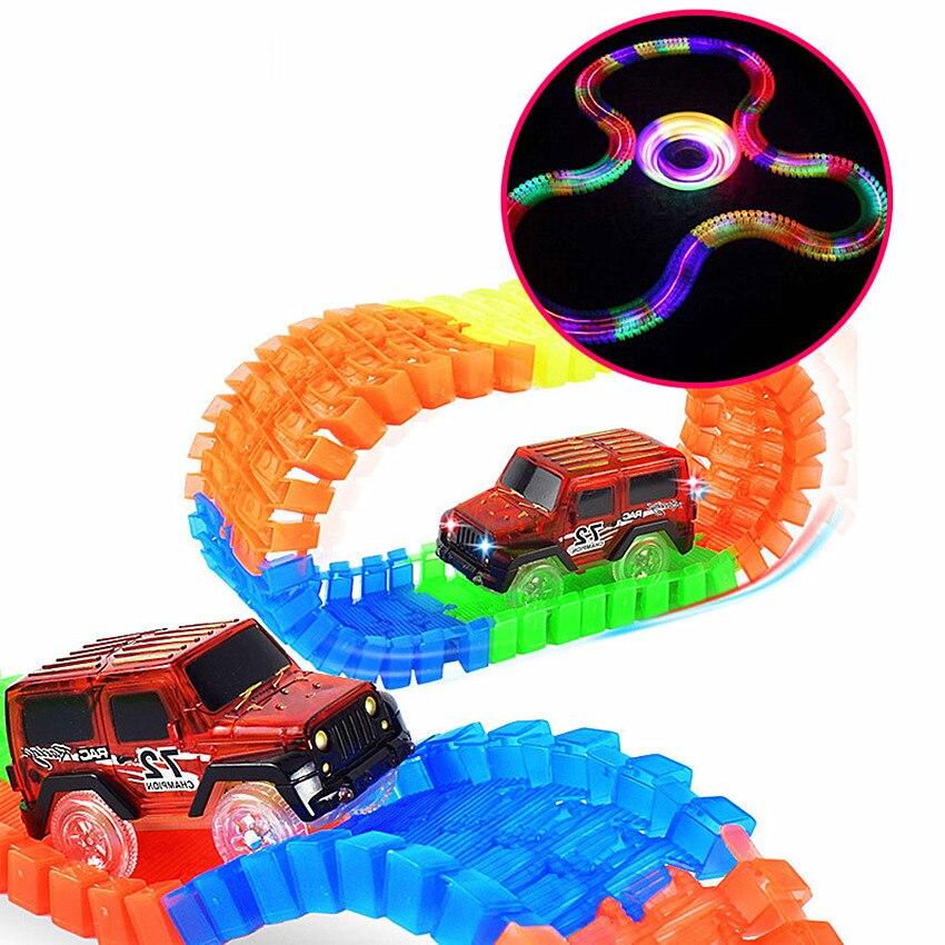 Автомобиль гоночный трек Hot Wheels изгиб Flex светятся в темноте DIY игрушка сборки детей Пластик гоночной трассе игрушечный автомобиль С светоди... ...