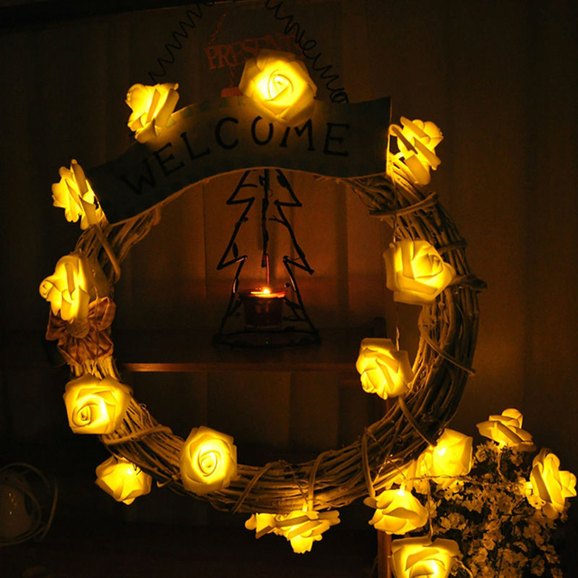 20LED Licht String Fairy Rose Lamp Garland Valentijnsdag Bruiloft ...
