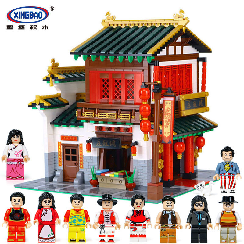 XingBao 01001 Blocks 2787Pcs Block Creative Chinese Style The Chinese Silk and Satin Store Set Building Blocks Bricks Toys Model in Blocks from Toys Hobbies
