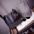 Заклепки плеча сумку двойного назначения пакета отдыха сумка женская мода кожа pu ведро мешок Колледж ветер тенденция свежего личность