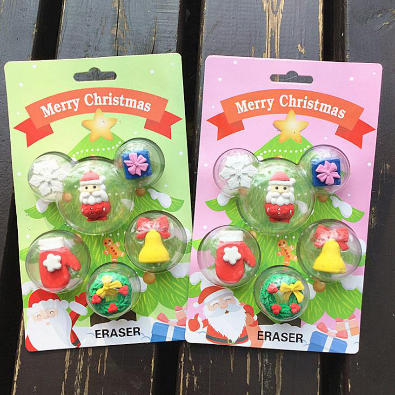 6 Pcs/pack Cartoon Mini Christmas Santa Claus Snowflake Bell Gloves Gift Box Rubber Pencil Eraser Students Stationery Kids Gifts