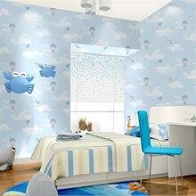 Beibehang hot air balloon bear paper plane children room wallpaper blue sky white clouds pink boy girl bedroom