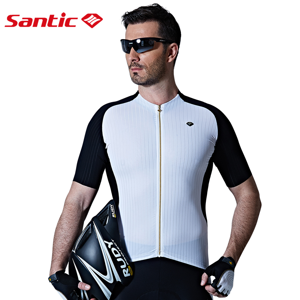 Santic Men Cycling Shirt Breathable Mountain Bike Jersey Short Sleeve Bicycle Tops Mtb Summer Pro Team Riding Cycling Wear Male