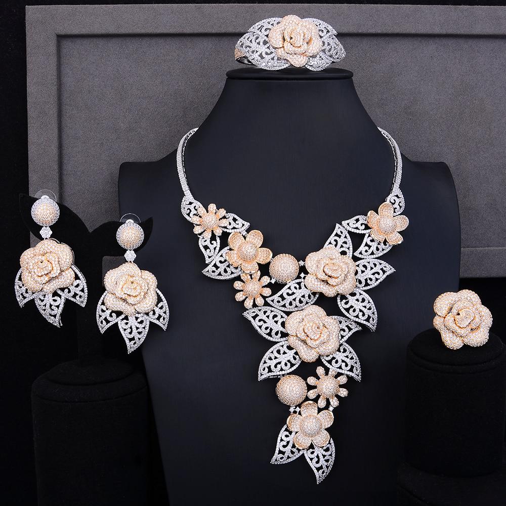 GODKI Luxury Flower 4PC African Long Jewelry Sets For Women Wedding Cubic Zircon CZ Indian African Silver Bridal Jewelry SetsGODKI Luxury Flower 4PC African Long Jewelry Sets For Women Wedding Cubic Zircon CZ Indian African Silver Bridal Jewelry Sets
