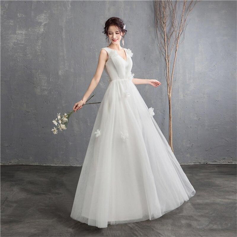 Image 3 - New Arrival Illusion korean style Tulle A Line Wedding Dress 2020  Double shoulder V neck Lace Bridal Dress Marriage Floor LengthWedding  Dresses