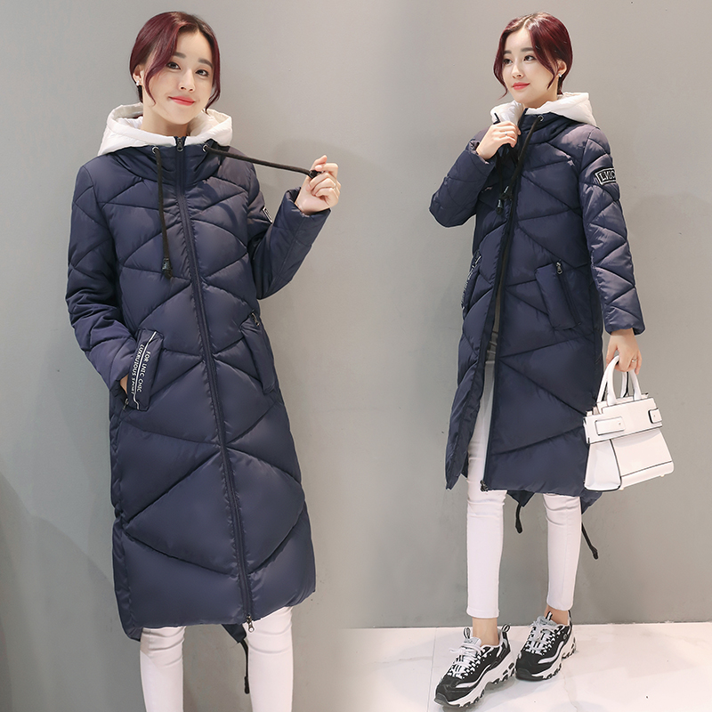 M 2XL 2016 New Women s Winter Coat Casual Solid Long Jacket With Hooded Cotton Jacket