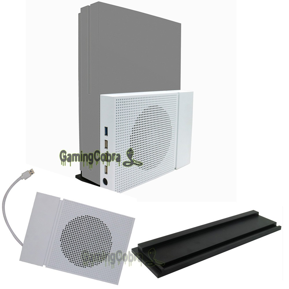 Vertical Stand Holder Cooling Fan Cooler with 4 USB HUB For Xbox One S Console