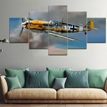 5 Pieces HD Print Painting  Messerschmitt Bf 1 Military For Modern Decorative Bedroom Living Room Home Wall Art Decor Framework