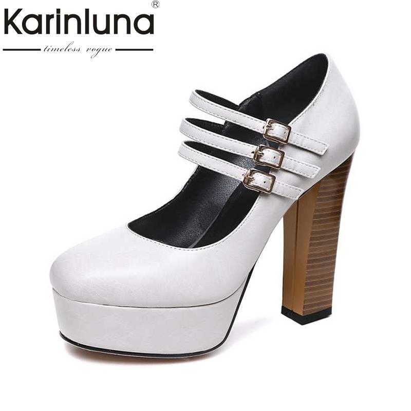 KARINLUNA Party Wedding Dress Round Toe Platform Pumps Black White Big Size 32-42 Sexy Women Mary Jane Square High Heel Shoes women s fashionable fluffy strapless yarn wedding dress white size l