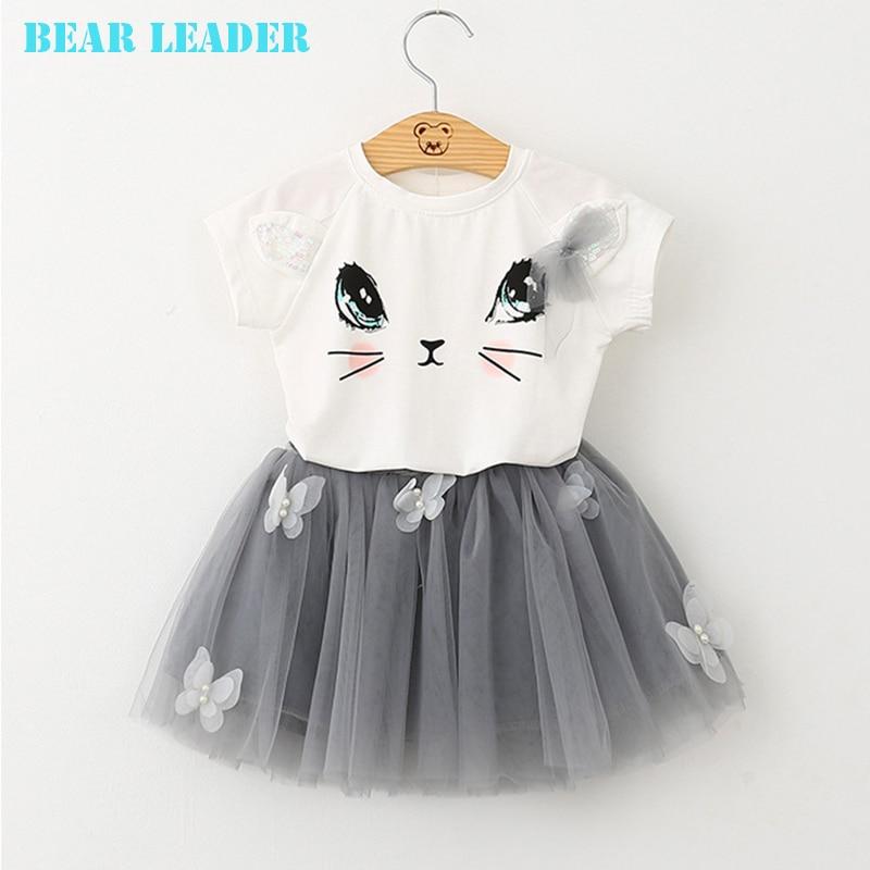 Bear Leader Girl Dress 2016 New Summer Casual Style Cartoon Kitten Printed T-Shirts+Net Veil Dress 2Pcs for Girls Clothes 2-6Y
