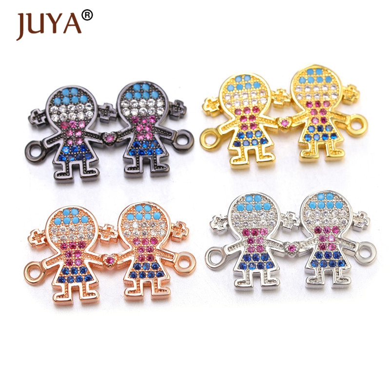 Juya Jewelry Making Supplies High Quality Copper Metal Inlay Color Zircon Rhinestone MOM And Kids Connectors Charms Pendants DIY