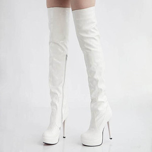 Image 5 - Women High Heels Tall Boots Sexy Patent Platform High Heeled Over The Knee Boots For Women Ladies Pole Dancing Boots Size 34 43