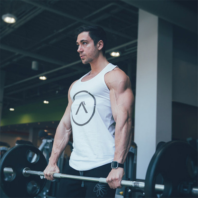 99917cfe4c5 Mens summer gyms clothing Fitness Tank Top Stringer Singlet Bodybuilding  Solid color Vest sleeveless shirts male Sling-in Tank Tops from Men s  Clothing on ...