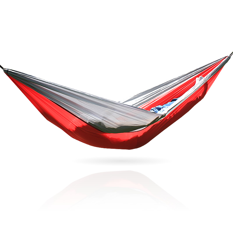 Portable Hammock Folding Ultralight Nylon Camping Hammock Parachute Garden Swing With 1- 2 PCS Tree Straps 260X140 CM  Hamak