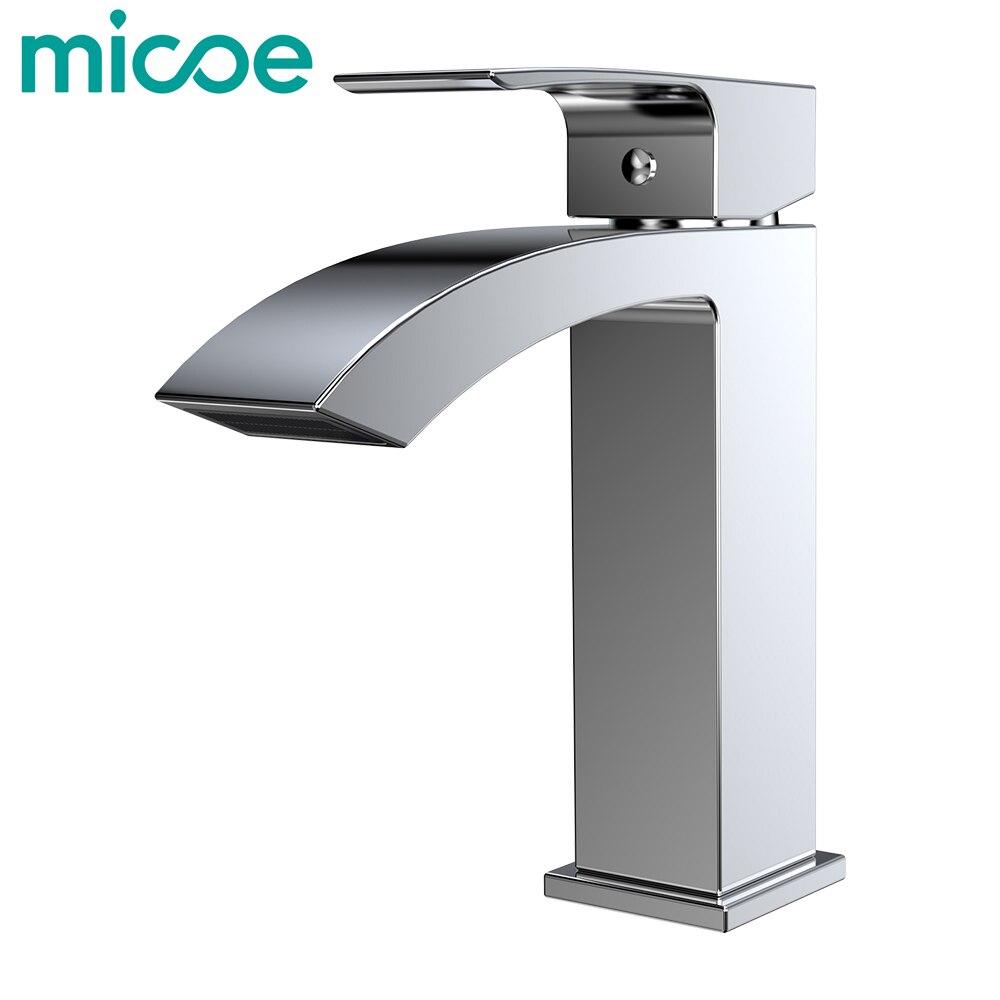 Grifo de lavabo Micoe para baño grifo de bañera de un solo orificio Válvula de cerámica grifo caliente y frío